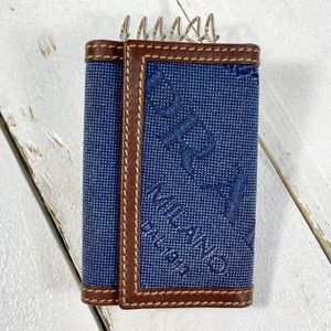 Prada Denim & Leather Logo Key Holder